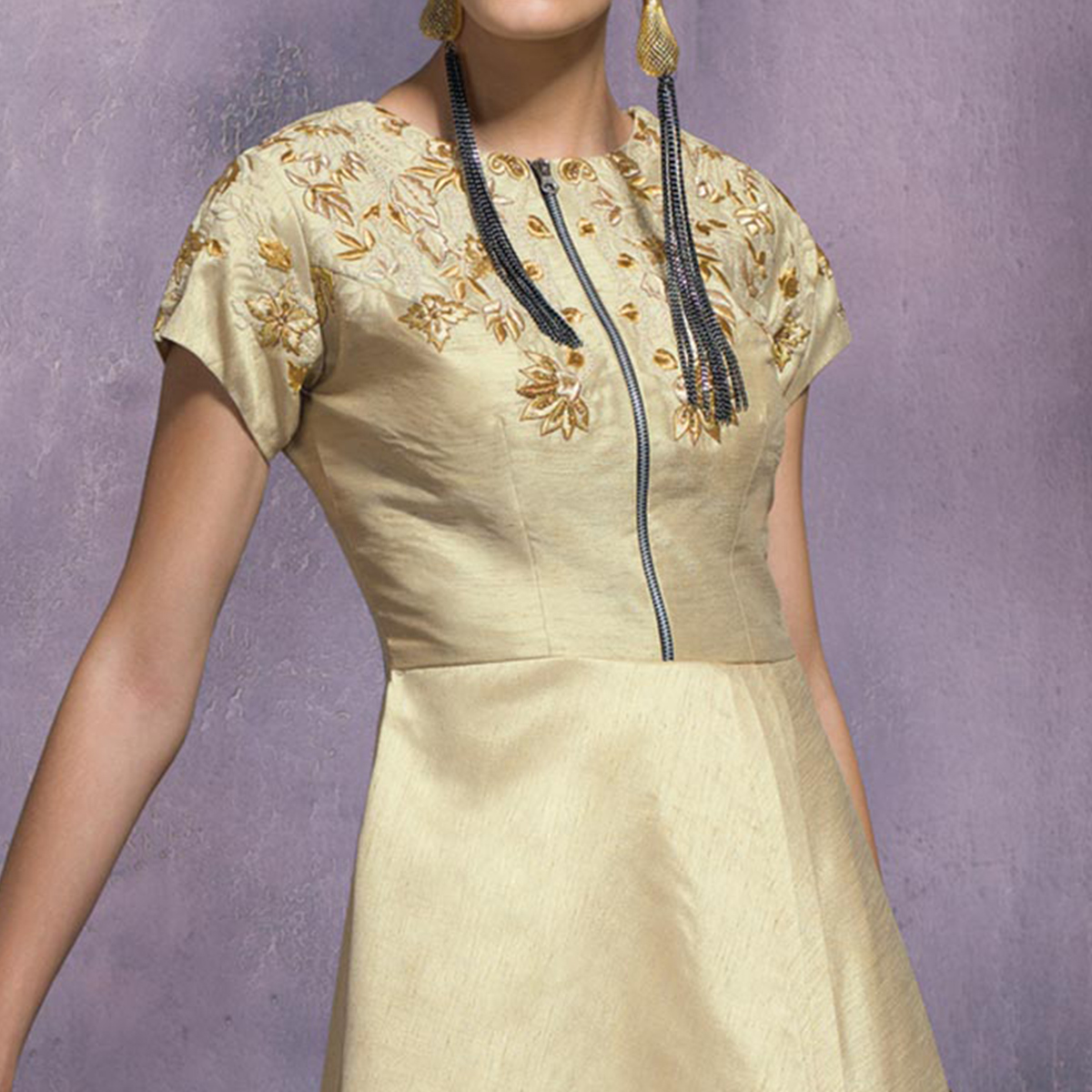 Intricate Beige Colored Partywear Embroidered Designer Art Silk Suit