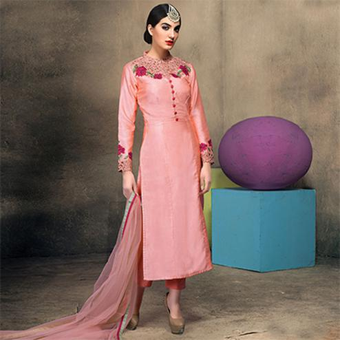 Embellished Pink Colored Partywear Embroidered Designer Art Silk Suit