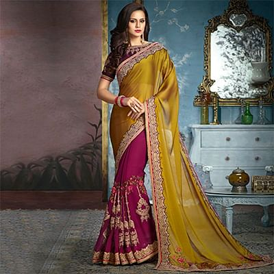 Olive Green-Wine Partywear Designer Embroidered Georgette Saree