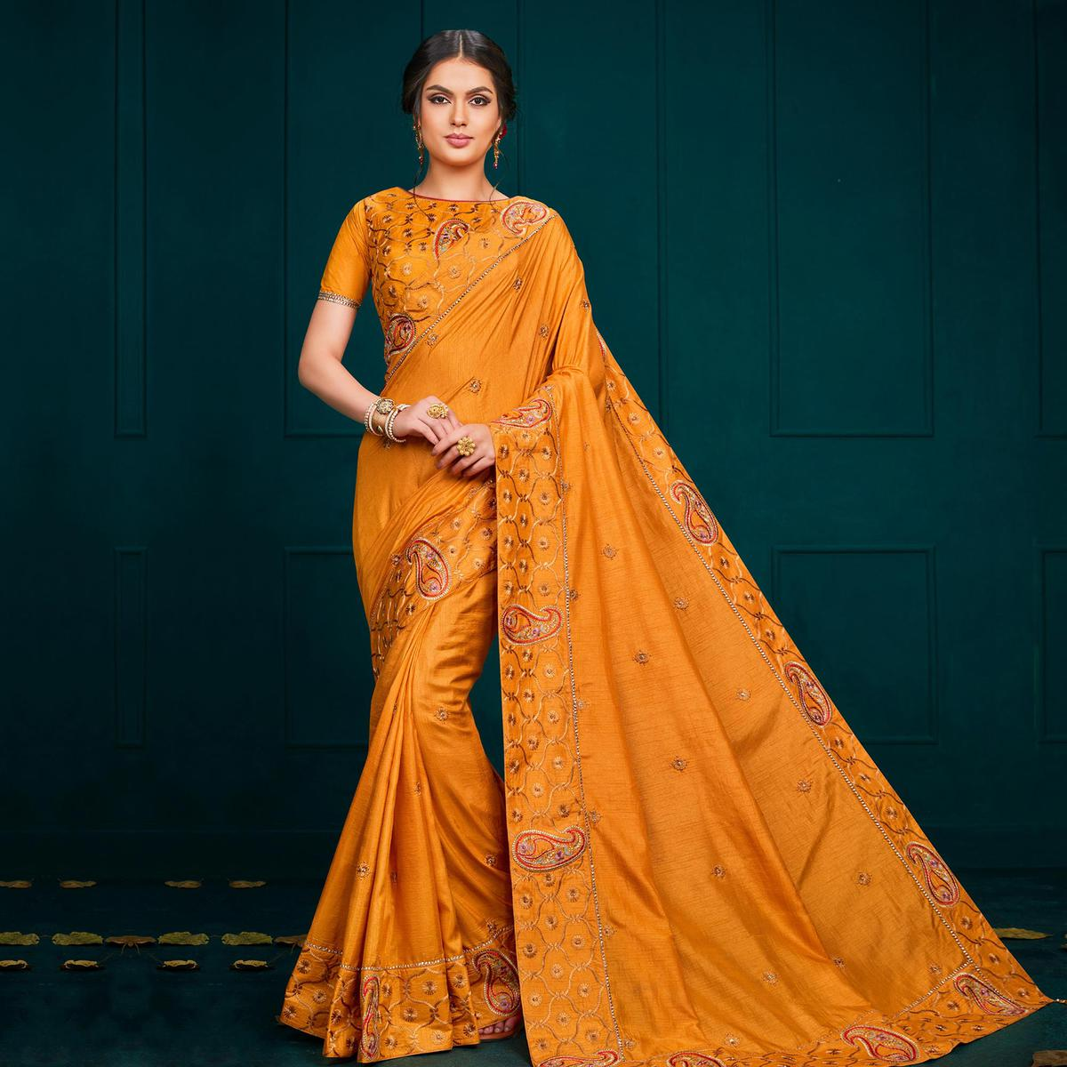 Indian Women Yellow Colored Poly Silk Heavy Embroidered Designer Saree