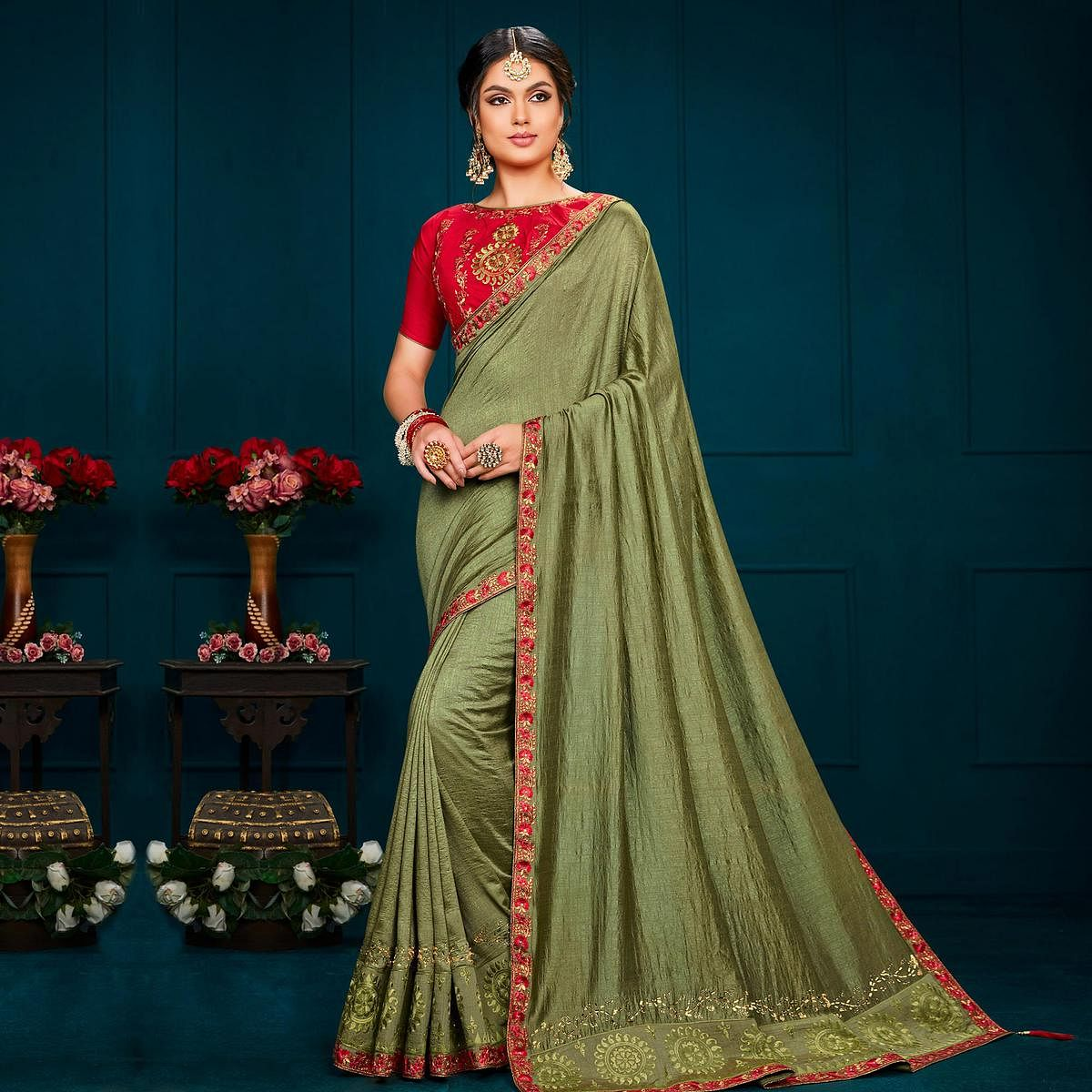 Indian Women Green Colored Poly Silk Heavy Embroidered Designer Saree
