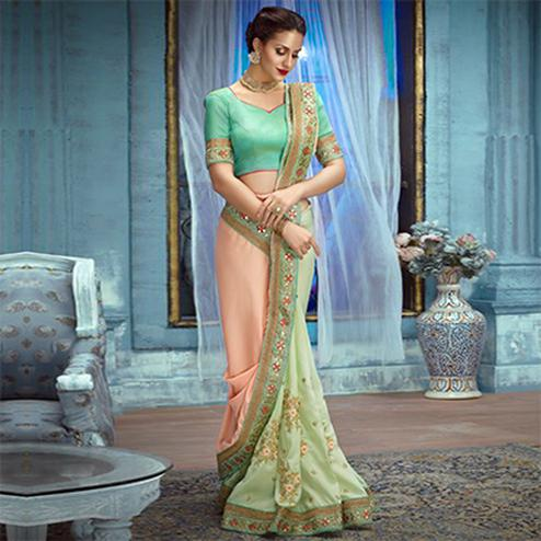 Peach-Pista Partywear Designer Embroidered Satin Saree