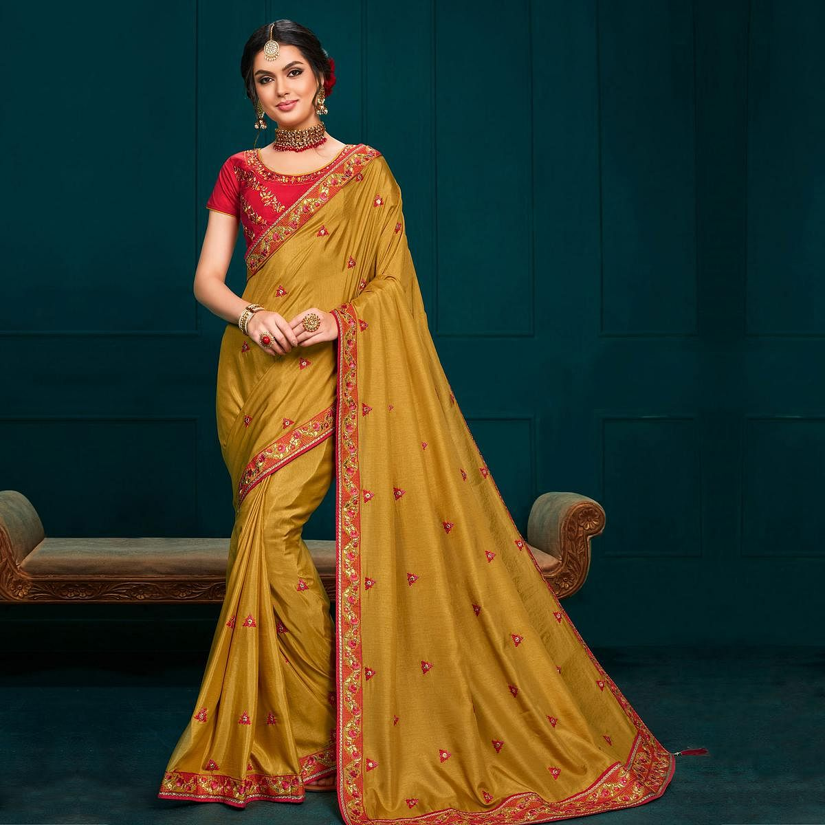Indian Women Mustard Colored Poly Silk Heavy Embroidered Designer Saree