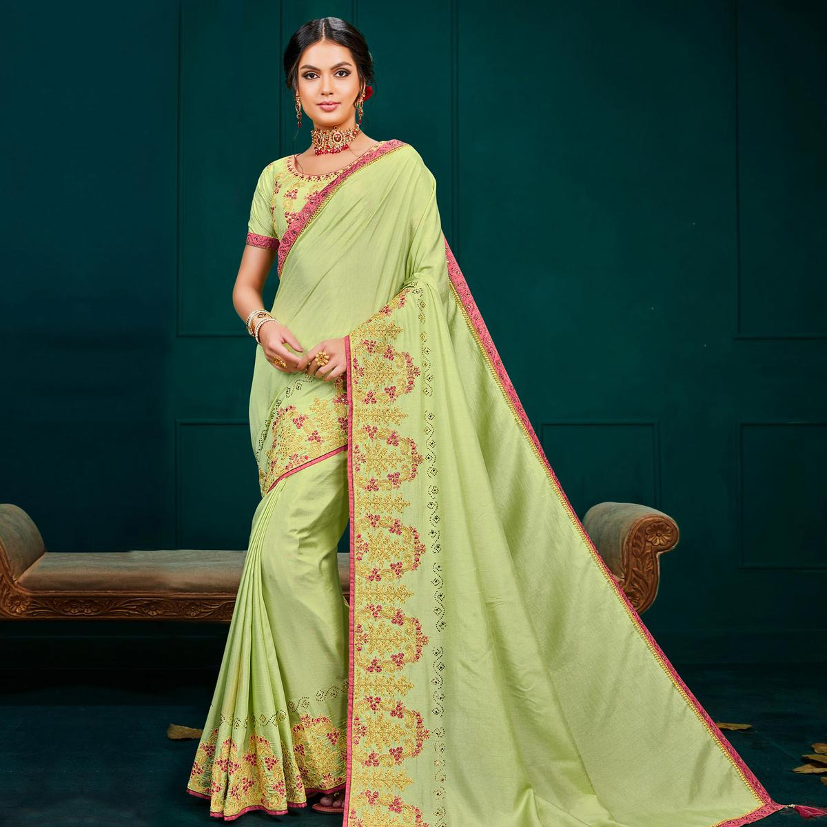 Indian Women Light Green Colored Poly Silk Heavy Embroidered Designer Saree