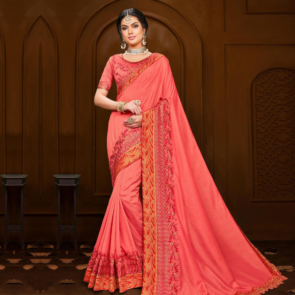 Indian Women Pink Colored Poly Silk Heavy Embroidered Designer Saree
