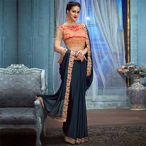 Stone Blue Partywear Designer Embroidered Georgette Saree