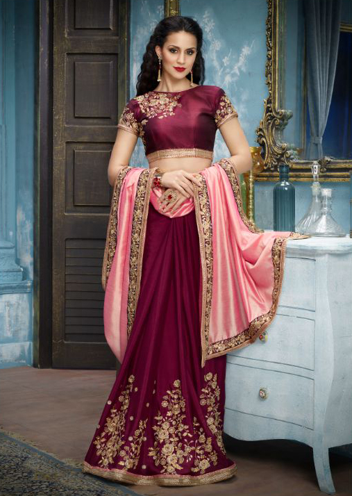 Peach-Wine Partywear Designer Embroidered Silk-Georgette Saree