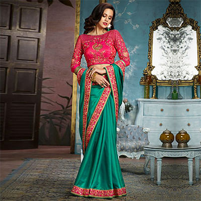 Green Partywear Designer Embroidered Silk-Satin Saree