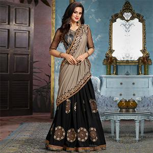 Grey-Black Partywear Designer Embroidered Georgette Saree