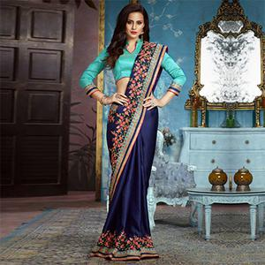 Navy Blue Partywear Designer Embroidered Silk-Satin Saree
