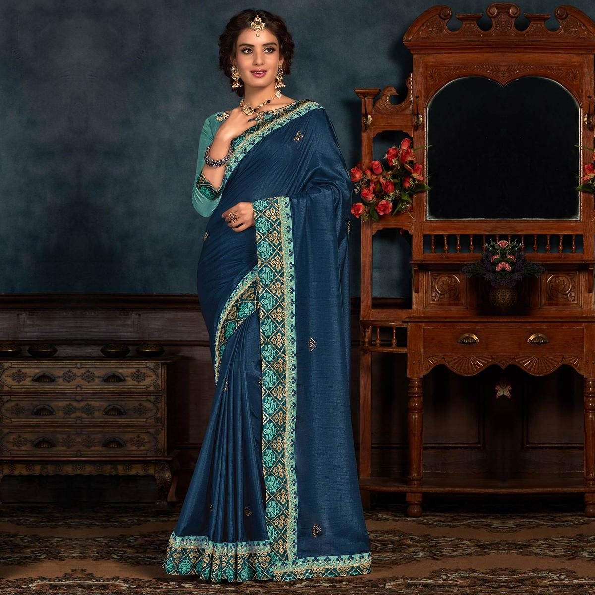 Indian Women Blue Colored Poly Silk Embroidered With Heavy Border Work Designer Saree