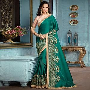 Dark Bottle Green Partywear Designer Embroidered Silk-Satin Saree