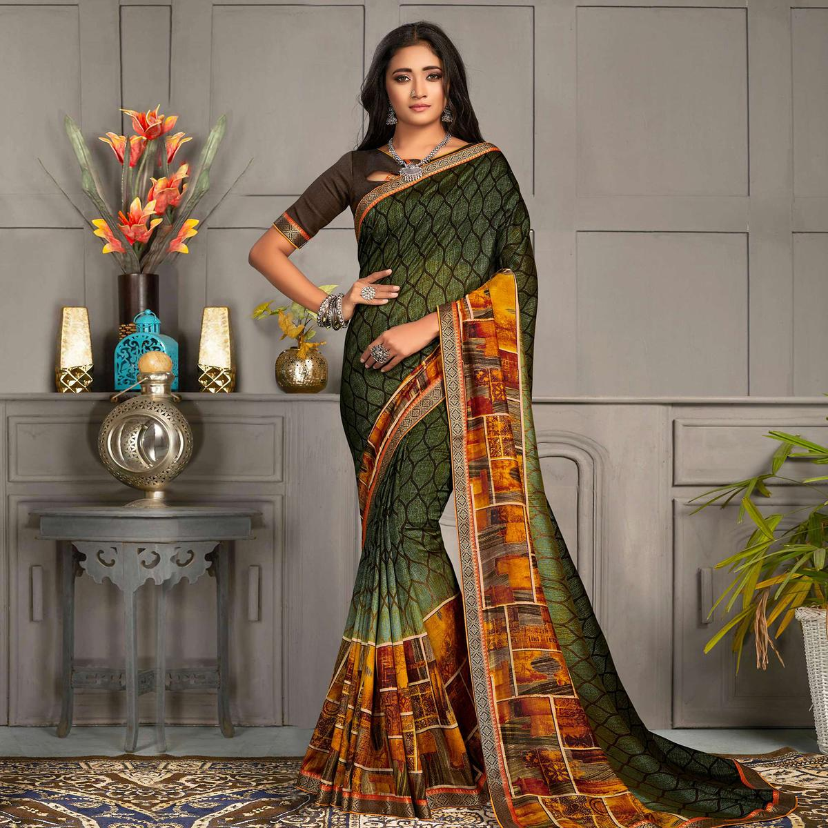 Indian Women Green Colored Georgette Printed With Lace Work Designer Saree