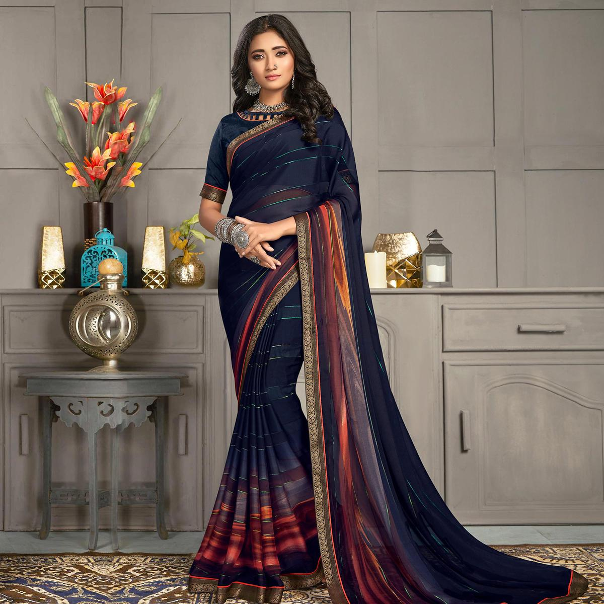 Indian Women Blue Colored Georgette Printed With Lace Work Designer Saree