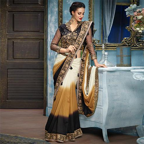 Cream Partywear Designer Embroidered Silk Saree