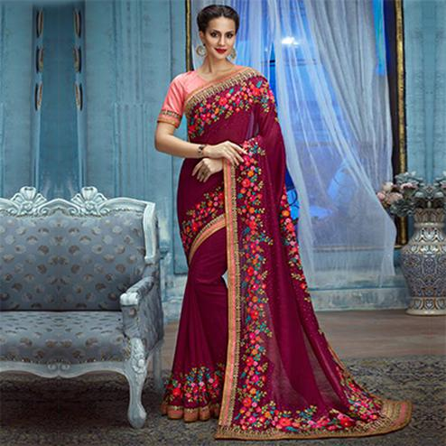 Wine Partywear Designer Embroidered Silk Saree
