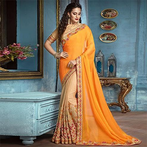 Yellow-Beige Partywear Designer Embroidered Georgette-Silk Saree