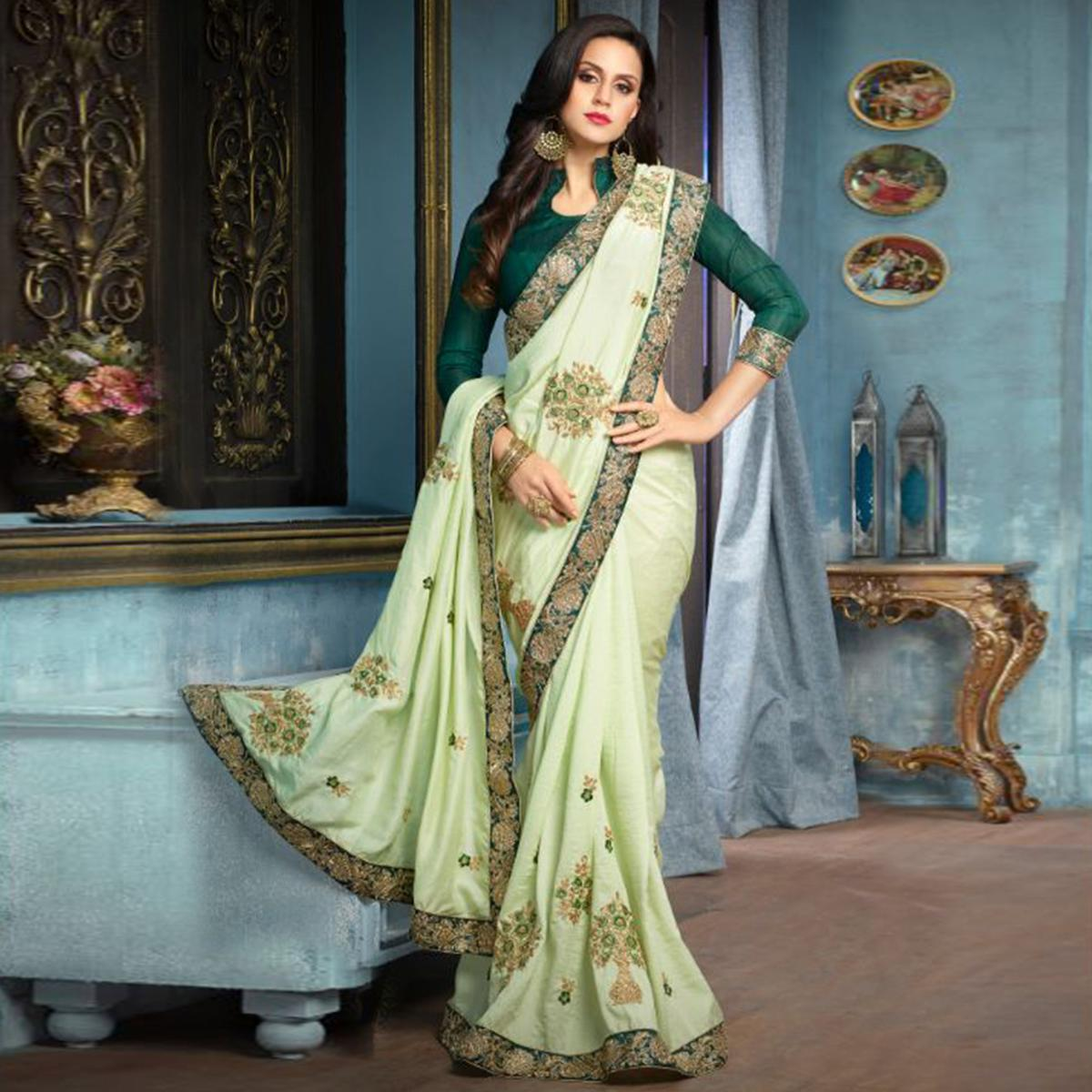 Pista Green Partywear Designer Embroidered Silk Saree