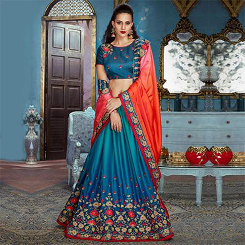 Orange-Blue Partywear Designer Embroidered Silk Saree