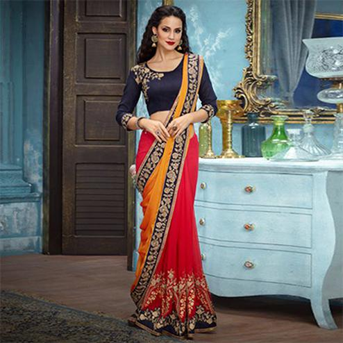 Yellow-Red Partywear Designer Embroidered Georgette Saree