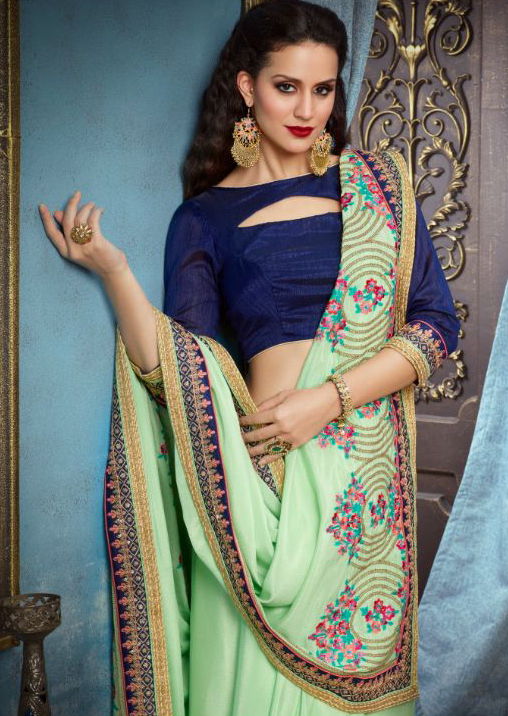 Pista Green Partywear Designer Embroidered Georgette Saree