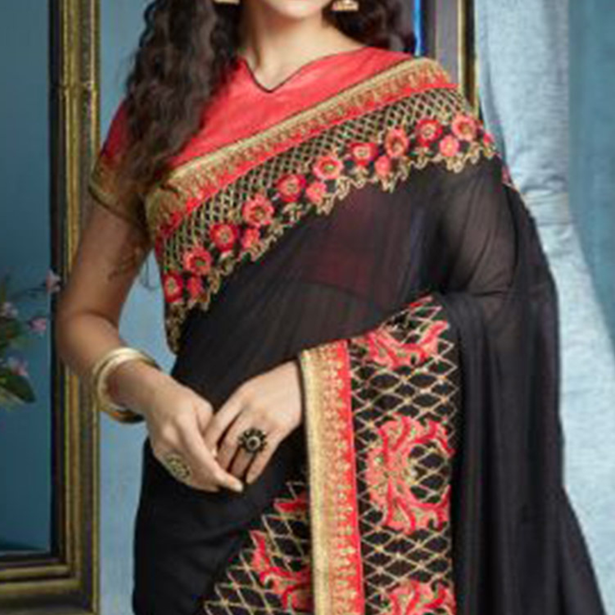 Black Partywear Designer Embroidered Silk Saree
