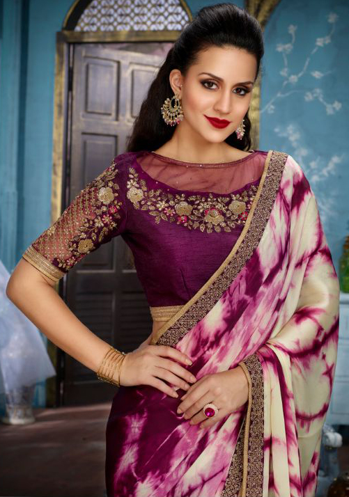 Wine Partywear Designer Embroidered Satin Saree
