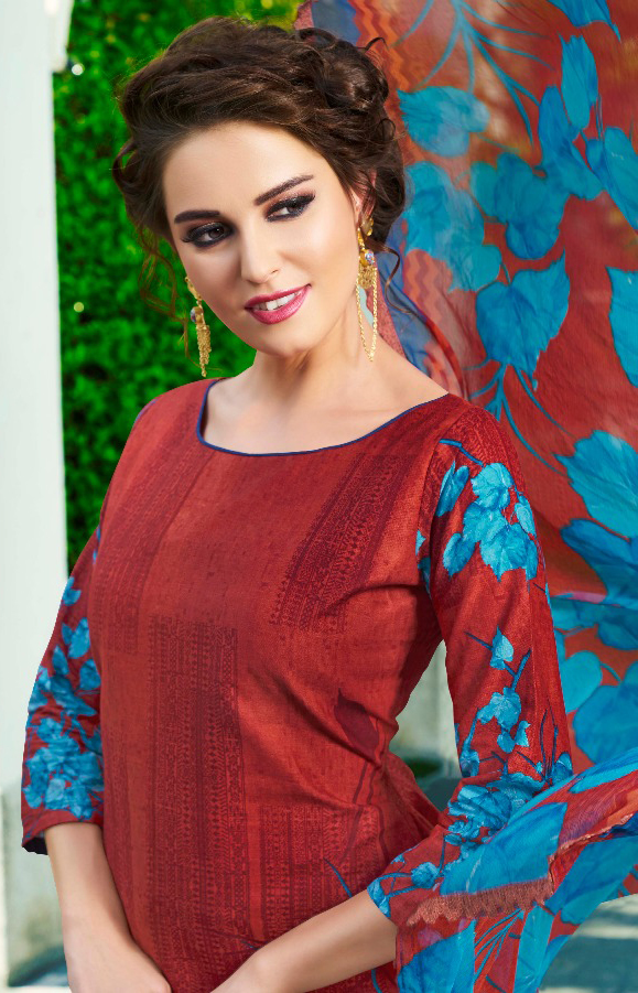 Ravishing Red Printed Cambric Cotton Dress Material