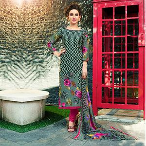 Graceful Grey Printed Cambric Cotton Dress Material