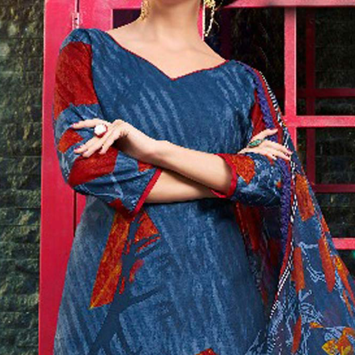 Stunning Stone Blue Printed Cambric Cotton Dress Material