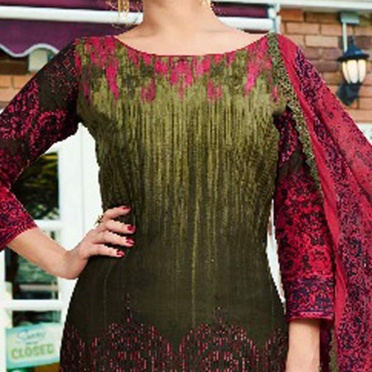 Amazing Olive Green - Pink Printed Cambric Cotton Dress Material