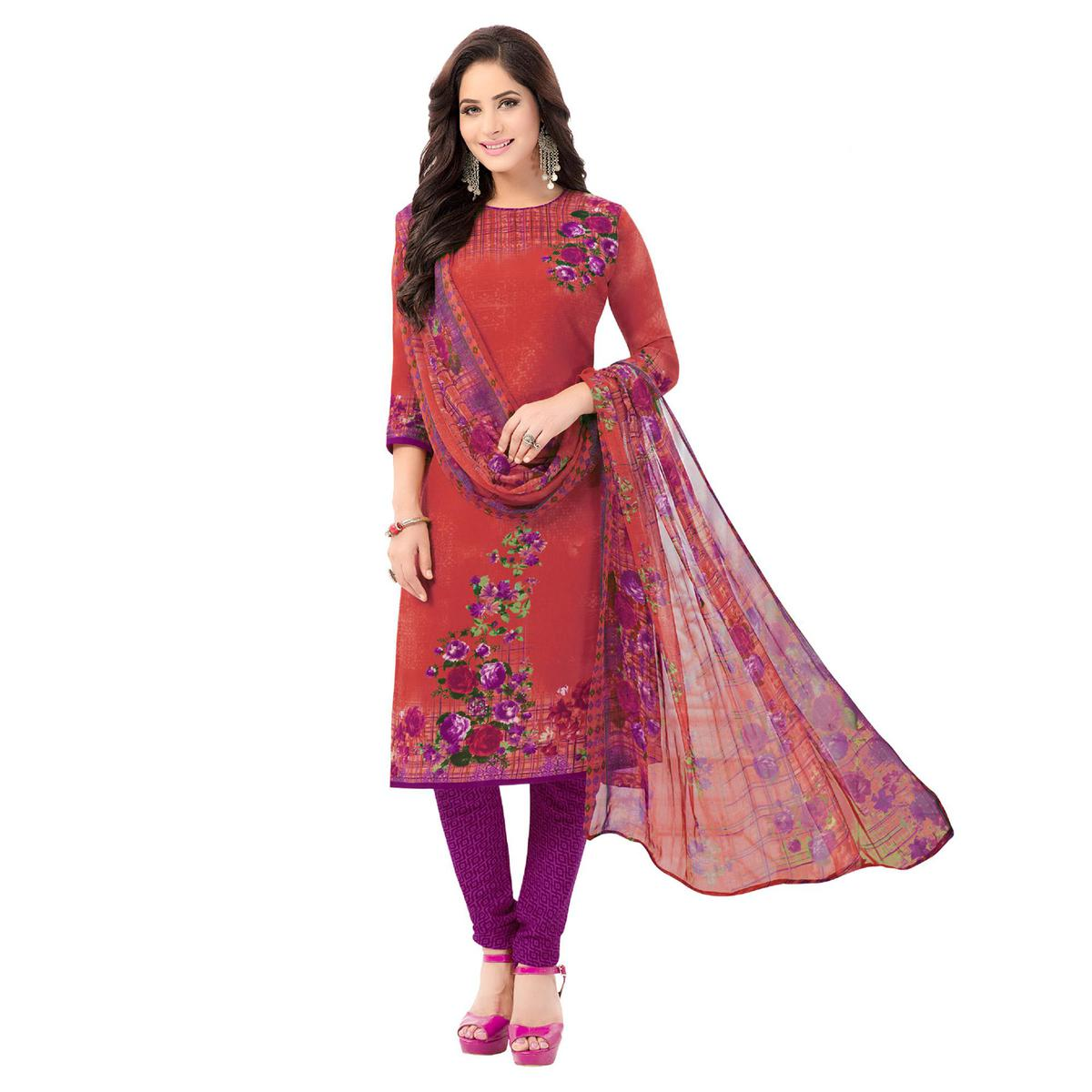 Salwar Studio - Women's  Red & Purple Synthetic Printed Unstitch Dress Material with Dupatta