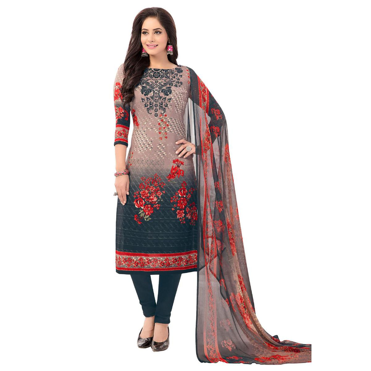 Salwar Studio - Women's  Grey & Red Synthetic Printed Unstitch Dress Material with Dupatta