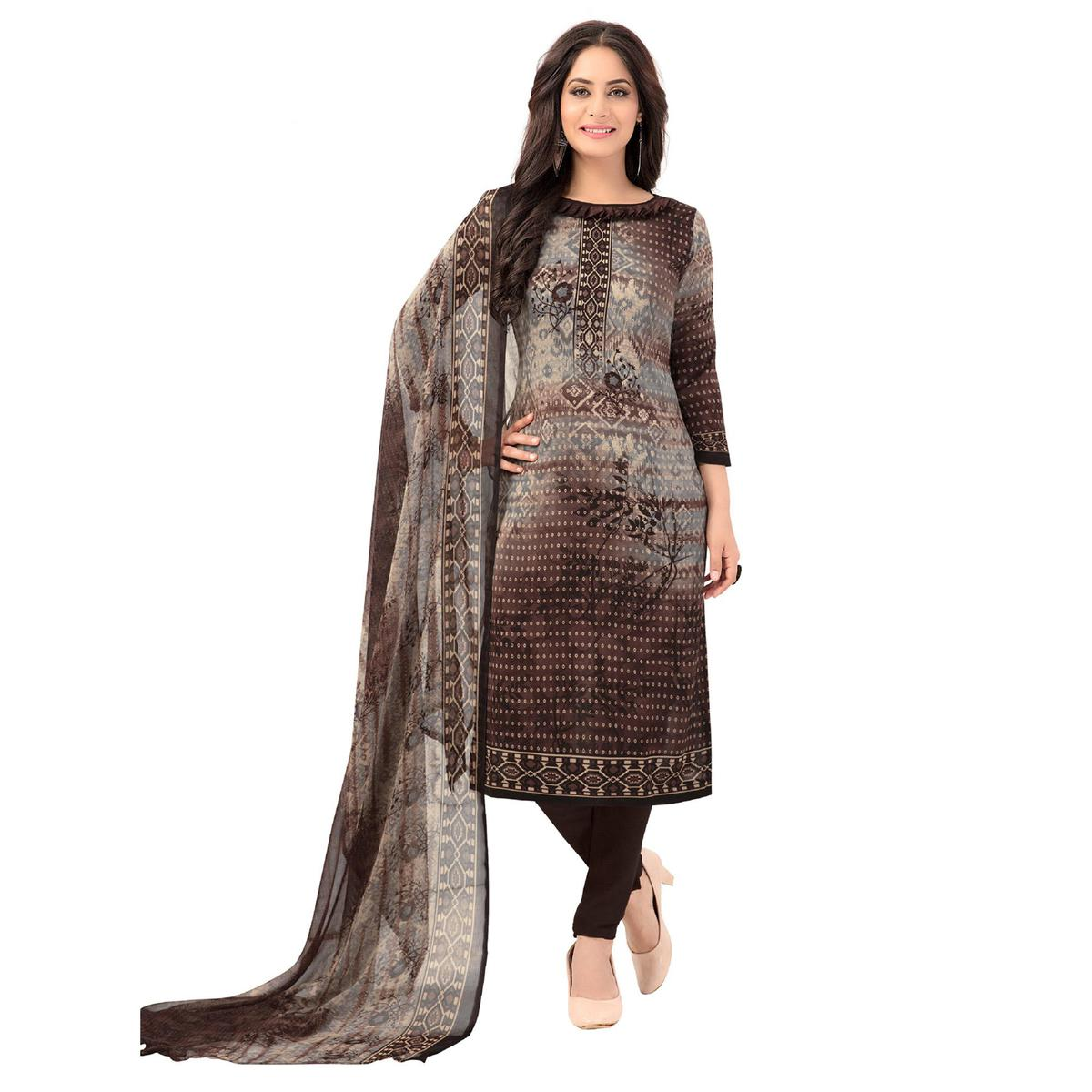 Salwar Studio - Women's  Brown & Grey Synthetic Printed Unstitch Dress Material with Dupatta