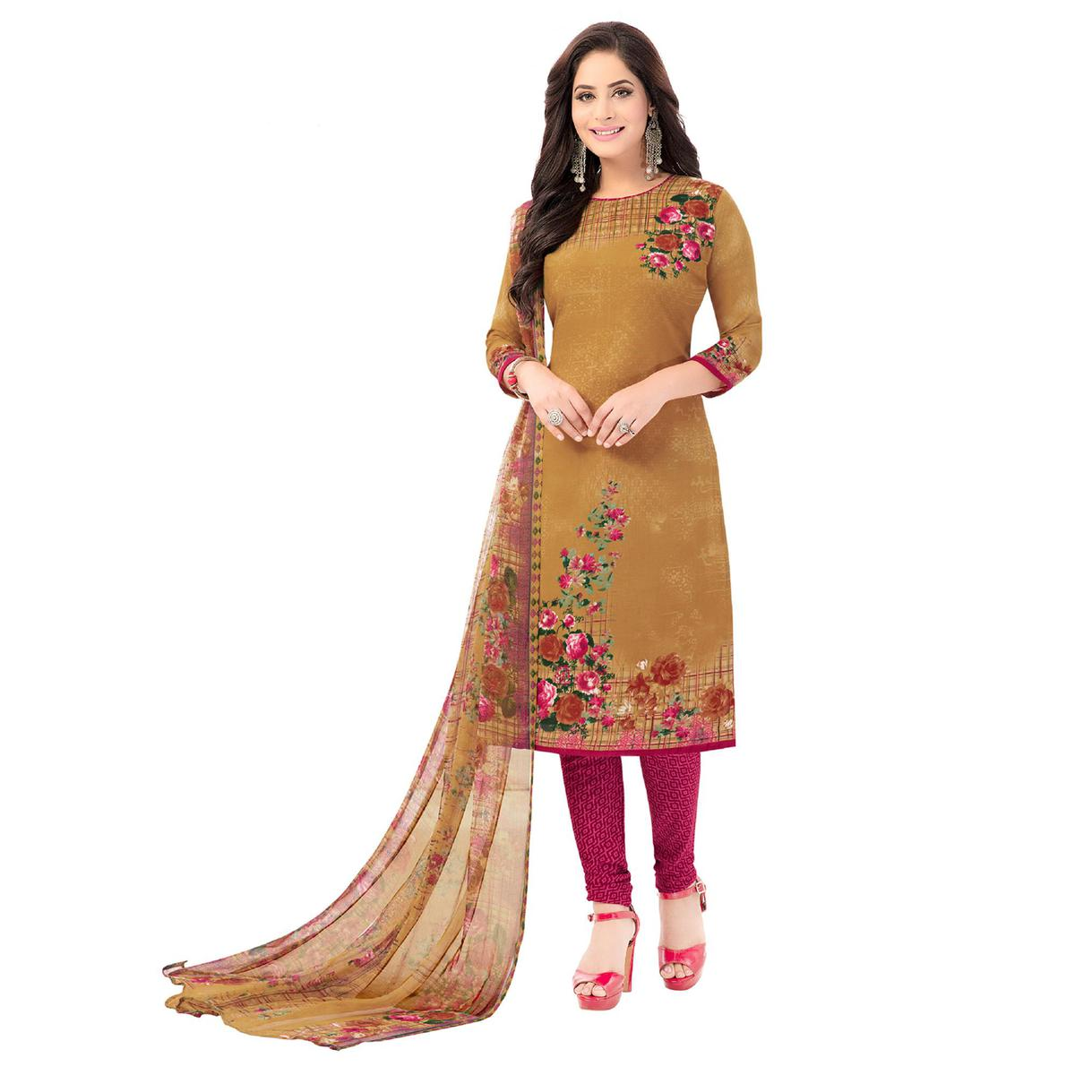 Salwar Studio - Women's  Mustard & Pink Synthetic Printed Unstitch Dress Material with Dupatta