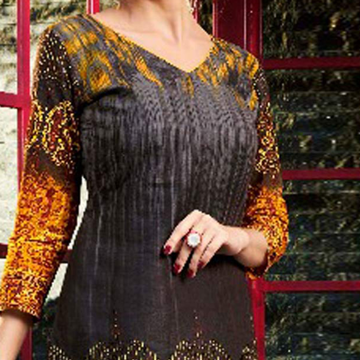 Glorious Brown - Yellow Printed Cambric Cotton Dress Material