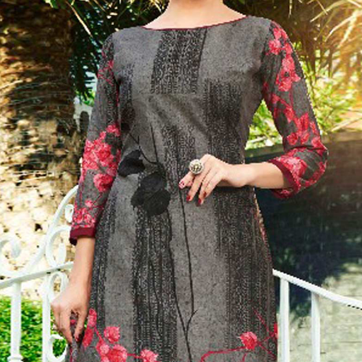 Dazzling Dark Grey Printed Cambric Cotton Dress Material