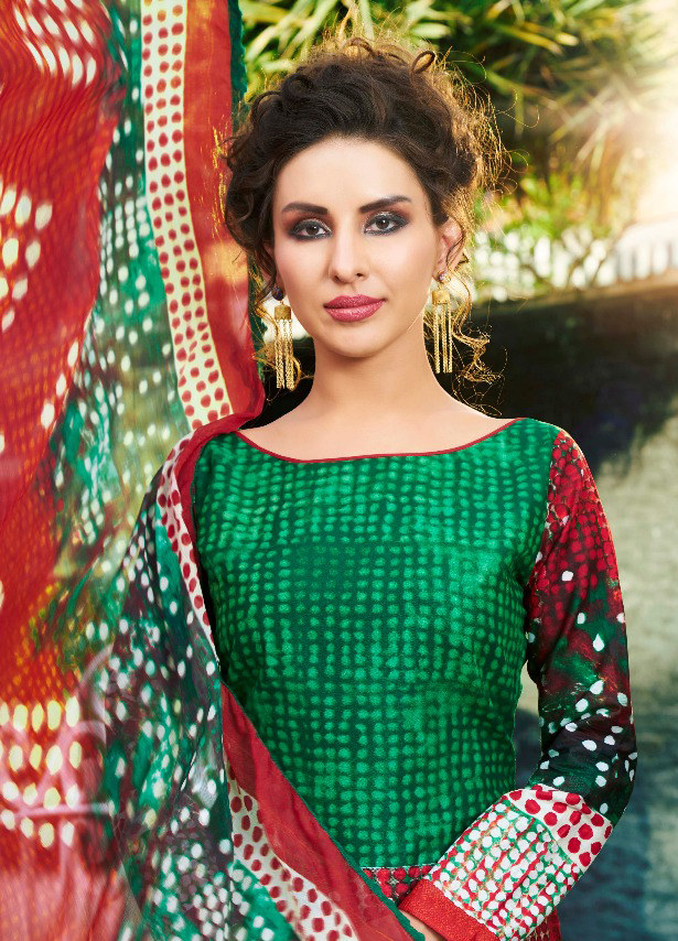 Sizzling Green Printed Cambric Cotton Dress Material