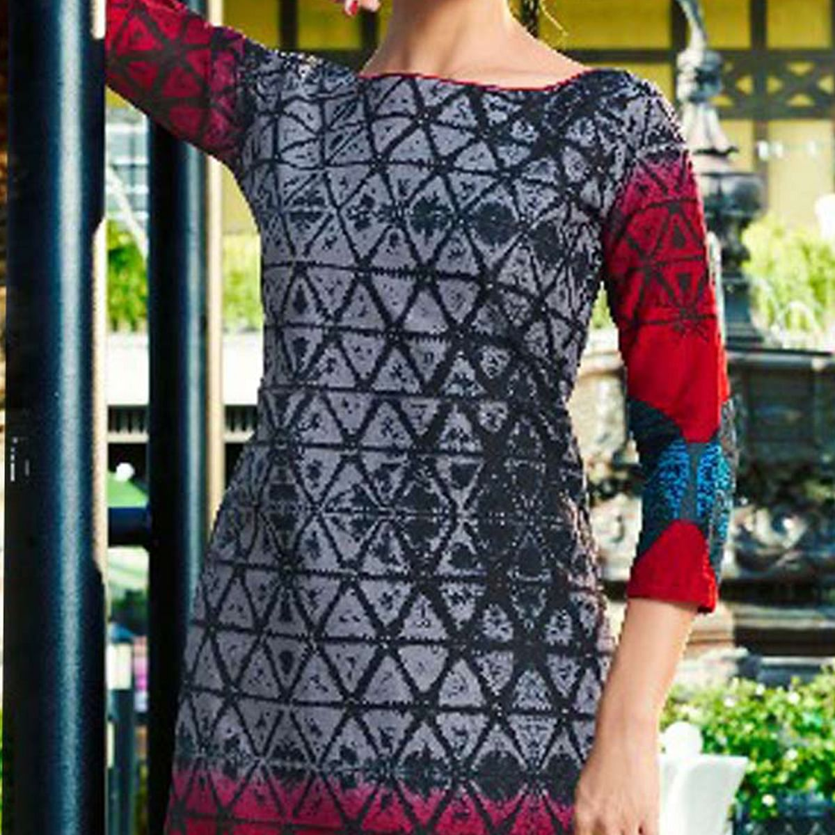 Beautiful Grey - Red Printed Cambric Cotton Dress Material