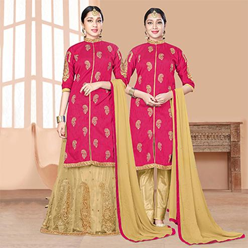 Adorable Pink-Beige Designer Embroidered Slub Silk Lehenga Kameez And Suit