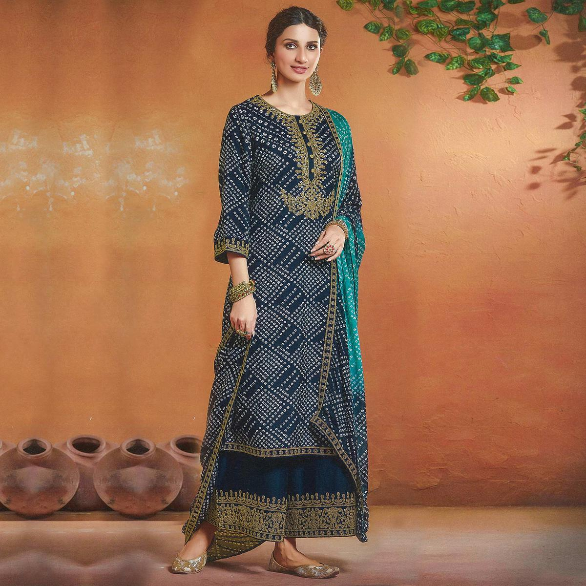 Attractive Blue Colored Tusser Silk Bandhani Pattern Digital Print Embroidered Tusser Silk Palazzo Suit