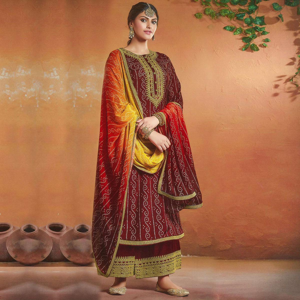 Beautiful Maroon Colored Tusser Silk Bandhani Pattern Digital Print Embroidered Tusser Silk Palazzo Suit