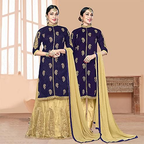 Attractive Navy Blue-Beige Designer Embroidered Slub Silk Lehenga Kameez And Suit
