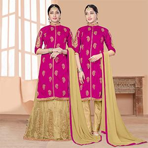 Graceful Magenta-Beige Designer Embroidered Slub Silk Lehenga Kameez And Suit