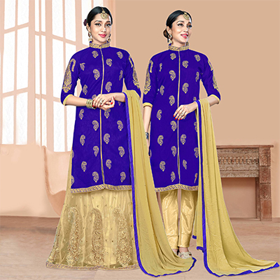 Stunning Royal Blue-Beige Designer Embroidered Slub Silk Lehenga Kameez And Suit