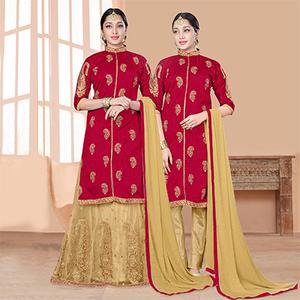 Amazing Red-Beige Designer Embroidered Slub Silk Lehenga Kameez And Suit