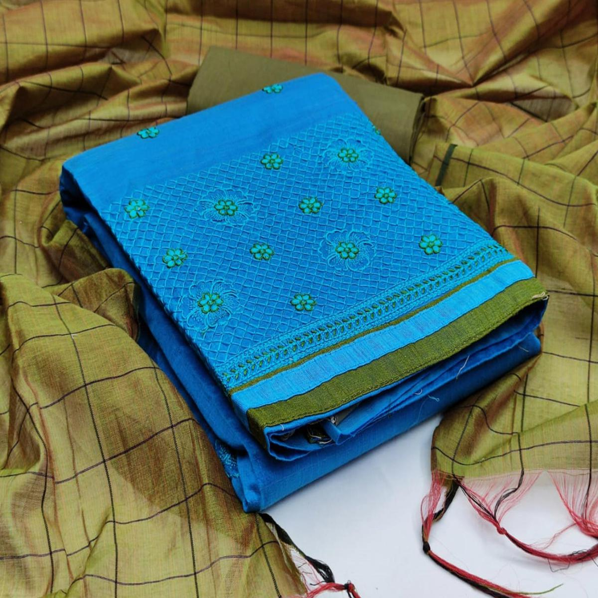 Stunning Rani Blue Colored Casual Wear Embroidered Banarasi Cotton Dress Material