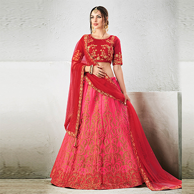 Red-Pink Colored Designer Embroidered Jacquard Silk Lehenga Choli