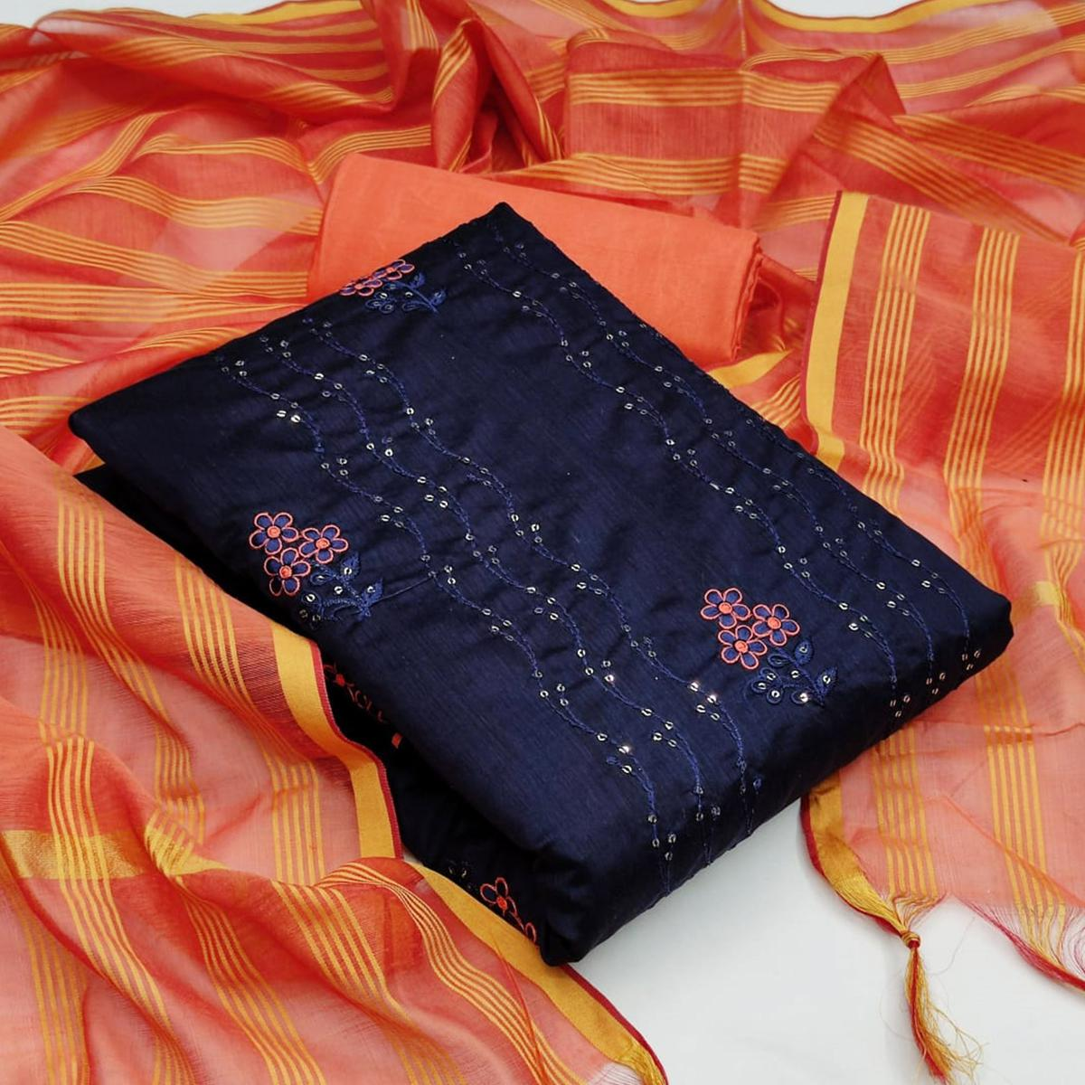 Adorning Navy Blue - Peach Colored Casual Wear Embroidered Chanderi Dress Material