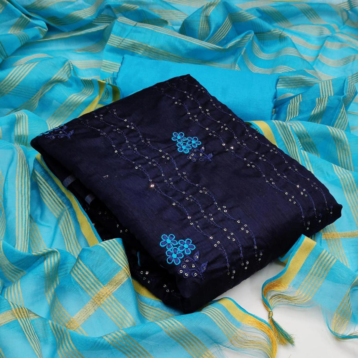 Adorable Navy Blue - Light Rama Colored Partywear Embroidered Chanderi Dress Material